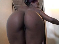 Ebony girl in love with her toys