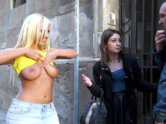 Lusty Latina Blondie Fesser flashing her big tits in public