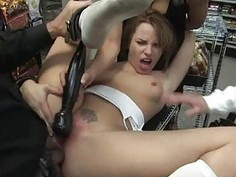Suffering from a group torture liberates whore