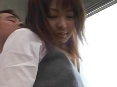 Haruki Morikawa has hairy pussy rubbed