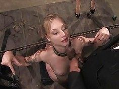 Group tormenting for a busty ravishing serf