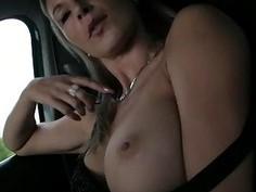 Busty amateur gal Alena fucked in public
