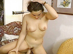 Busty amateur girlfriend anal action with facial