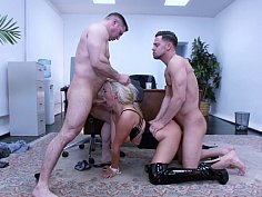 Amazing threesome with a tight body blonde babe