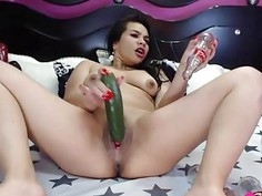 Latina AlejandraHotAss loves fisting n bottles of cola in anal 18flirt*com