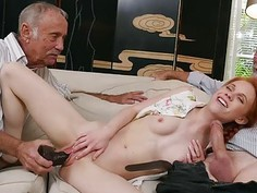 Dolly Little sucks old mans cock while being stuffed