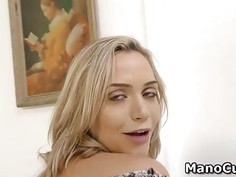 Blonde reveals her pussy upskirt and gives POV handjob