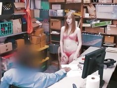Shoplifter Dolly Leigh gets her pussy railed in LP office