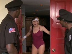 Two policemen bang slutty cougar Alexandra Silk at her place