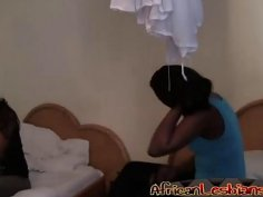 Nasty amateur African babes in hot lesbian action