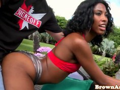 Black booty babe gets a thick load on her face