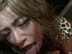 Ugly and kinky japanese slut is sucking dick hard and getting fucked from behind