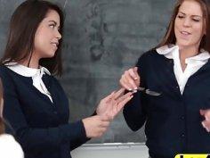 Schoolgirls licking cunts in lesbian threesome