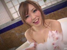 Japanese Megu Kamiyo loves masturbating in bathroom