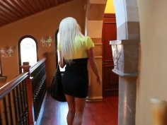 Hot blonde Nikita Von James fucks postal man