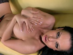 Tremendous brunette babe Larissa Dee brags with her plastic lips