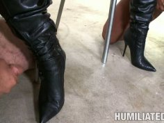 Humiliated Jackie Daniels licks cum off her girlfriend's boots