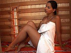 Hungarian hottie Eve Angel masturbating in sauna