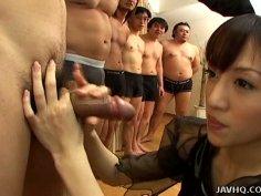 Skinny Japanese cutie Arisa Kanno giving blowjob to daozen guys