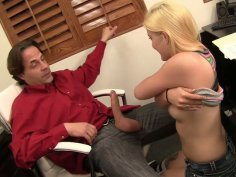 Slutty blonde Miss Dallas gives blowjob to her boss Eric John