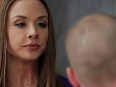 Sexy brunette teacher loves huge swollen cock