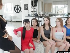Licking and fingering pussies in lesbian orgy