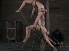 Fuckable whores are hanged to the ceiling in BDSM sex video