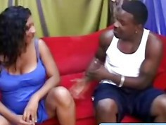 Pregnant ebony MILF blows and gets drilled by BBC