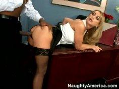 Skinny blonde Aline gets her nice skinny booty rammed by big black cock
