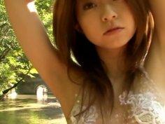Asian cutie Mika Orihara wears maid dress and looks really sexy