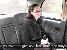 Busty passenger with glasses gets pounded in the cab