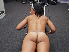 Hot babe works out nude and flaunts