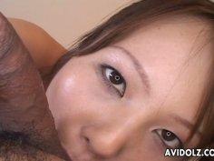 Sayaka Minami with charming eyes gives pov blowjob