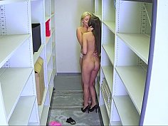 Horny slutty lesbians engaged in an arousing quickie