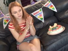 Frisky teen gal Ginger Taylor plays with her snatch and sucks a hard stick