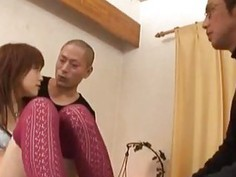 Miina licks cocks and gets them between legs in socks