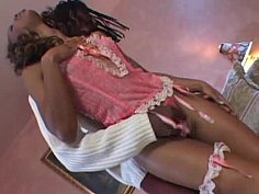 Tall black babe gets fucked by a big black cock