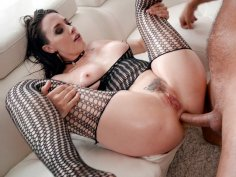 Chanel Preston in fishnet body stockings gets asshole drilled