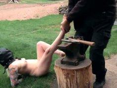 Fluffy blonde mom Olivia Rose in hardcore BDSM session