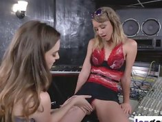 Young slut Aurora Snow pleases her producer by licking her sweet pussy