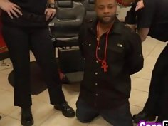 A dirty female cops arrest black stud and uses him to satisfy their sexual needs
