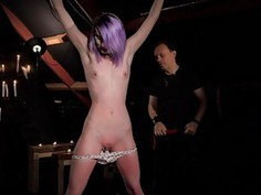 Purplehair slave rough spanked and dominated